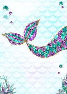 Feliz cumpleaños This Beautiful Mermaid invitation has the look of Glitter and is perfect for your under the sea party. Teal and purple the perfect Mermaid colors. A perfect Way to announce your under the sea party. Mermaid Baby Showers, Baby Mermaid, Mermaid Font, Mermaid Outline, Wallpapers Mermaid, Mermaid Wallpaper Backgrounds, Mermaid Party Invitations, Birthday Invitations, Mermaid Background