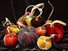 Easy to make fabric pumpkin tutorial! Filled with rice.     ***Good for recycling old table cloths***