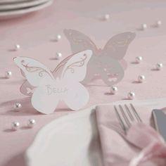 Tischkarte 'Schmetterling' weiß (10 Stück)