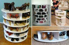 Meuble a faire soit même : rangement pour chaussures tournant. Gain de place ? Oui plutôt... A classer par couleur après, par thème... Ca dépend combien vous avez de paires de chaussures mais passé 30 les prendre en photo et noter la taille reste une super idée aussi !