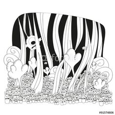 Vector: Mini fantasy land cartoon for children #fotolia #illustration #fantasy #world #monsters #children #kids #happy #fun #land #flowers #party #cover #print #poster #card #postal
