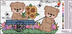 Ursinhos para ponto cruz Cute Cross Stitch, Cross Stitch Charts, Cross Stitch Patterns, Brother Innovis, Plastic Canvas Patterns, Embroidery Designs, Teddy Bear, Comics, Pets