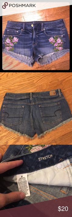 Embroidered cutoffs American Eagle rose embroidered jean shorts. Bought and decided they were too short for me! My loss is your gain :) American Eagle Outfitters Shorts Jean Shorts