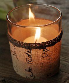 Love this Linen Wrap Candle Holder on #zulily! #zulilyfinds