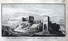 A fine highly detailed little copper engraved antique print entitled THE SOUTH WEST VIEW OF EGREMONT CASTLE IN THE COUNTY OF CUMBERLAND A lovely