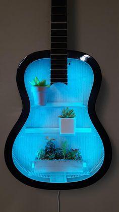 Acoustic Guitar Case, Guitar Art, Recycling, Reuse Recycle, Guitar Shelf, Small Urns, Casual Decor, Guitar Tutorial, Aesthetic Room Decor