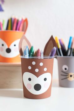 Upcycling idea: Waldfreunde DIY pencil cups to start school paul vera Advertising unsolicited Diy For Kids, Crafts For Kids, Arts And Crafts, Fox Crafts, Pencil Cup, Diy Gifts For Boyfriend, Recycled Crafts, Preschool Crafts, Diy Crafts To Sell