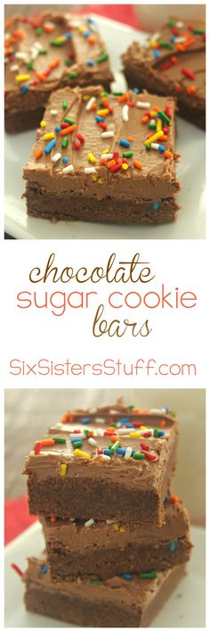 Chocolate Sugar Cookie Bars on SixSistersStuff.com