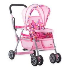Toy Doll Caboose Tandem Stroller - Pink Dot For Reborn silicone doll by Joovy Baby Doll Strollers, Pram Stroller, Jogging Stroller, Reborn Silicone, Silicone Dolls, Baby Doll Toys, Toddler Dolls, Double Strollers, Cool Toys
