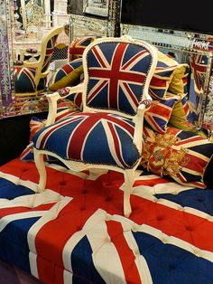 Union flag chair, ottoman, and pillows