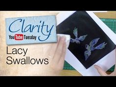 Lacy Swallows: Tips for coloring detailed images with Perfect Pearls on glossy cardstock.  9.17.14