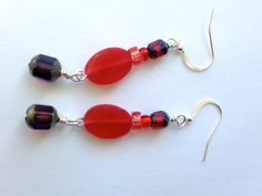 Shades of Red Beaded Dangle Earrings by ZhiJewelry on Etsy