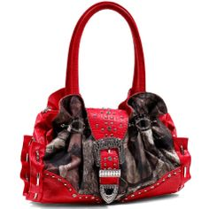 New Mossy Oak Croco Studded Camouflage Handbag Purse Rhinestone Camouflage/Red  Up For Auction