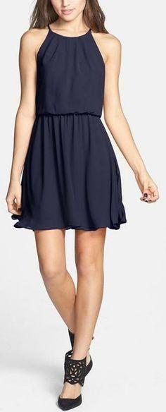 Lush Blouson Chiffon Skater Dress black dress I love it : P