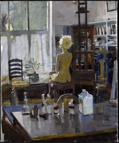 """Ken Howard (English, Oil on canvas. He paints in a """"traditional"""" manner, based on strong observation and a high degree of draughtsmanship combined with tonal precision. Figure Painting, Painting & Drawing, Ken Howard, Korean Painting, Artists And Models, Royal College Of Art, Artist Art, Aesthetic Art, Figurative Art"""