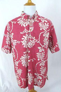 Reyn Spooner Shirt XXL Phil Edwards Hawaiian Pink Floral Reverse Print Hibiscus #ReynSpooner #Hawaiian