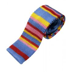 Indigo with Bright Multi Stripes Knitted Silk Tie from Farrells Neckwear | Woods of Shropshire