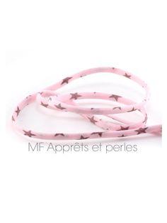 1 mètre cordon spaghetti De Lawn rose et étoiles brun rosé 4mm - 1m cordon liberty étoiles : Rubans, biais pour bijoux par mf-apprets-et-perles
