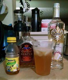 Apple Crisp -2oz Cake Vodka -3oz Crown Royal Maple -4oz Apple juice Mix in shaker w/ ice & strain into a chilled glass