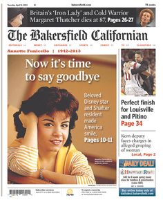 """Sweet Annette Funicello wood from the Bakersfield Californian: """"Now it's time to say goodbye"""" Tehachapi California, Bakersfield California, California Usa, Vintage Magazines, Vintage Photos, Annette Funicello, 60s Rock, Margaret Thatcher, Music Pics"""