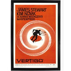 A digital art reprint of the classic movie poster originally done by Saul bass. Vertigo is the psychological thriller film directed by Alfred Hitchcock in 1958, and is based on the 1954 novel D'entre