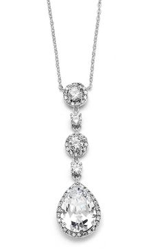 Pear-shaped Drop Bridal Necklace with Pave CZ | Blush Bridal Fayetteville, NC