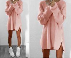 Women's Fashion Warm Zip Side Loose Sweater Dress