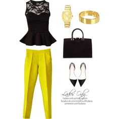 A fashion look from September 2013 featuring tall tops, yellow trousers and zara flats. Browse and shop related looks. Office Ladies, Shoe Bag, My Style, Lady, Polyvore, Stuff To Buy, Shopping, Collection, Design