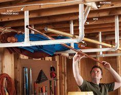 Mount this simple PVC rack - hiking staffs (staves?), umbrella, etc.