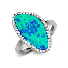 Infinity Symbole Teal Blue Fire Opal Inlay Argent Bijoux Bande Anneau US Taille 7 8 9