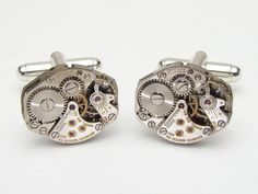 Steampunk Cufflinks Steampunk Jewelry Benrus watch movements wedding Grooms silver cuff links  #SteampunkCufflinks #SteampunkJewelry #SteampunkJewelrybyMariaSparks