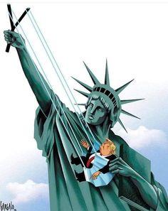 Funny Caricatures, Trump Wins, Trumpet, Veronica, Unique Art, American History, Statue Of Liberty, Donald Trump, Photo And Video