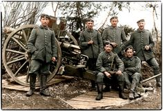 The crew of a Bavarian 7.7cm Feldkanone 96. In 1914, the FK96 was the most numerous gun in the German arsenal, with around 5,100 of them ready to be brought into action. It was the workhorse of the Feldartillerie regiments and played a part in nearly every battle fought during WW1. A trained gunnery crew could supply a rate-of-fire of 10 rounds per minute. Muzzle velocity of each exiting round was 1,525 feet per second with an effective range of 6,000 yards. (Colourised by Doug UK)