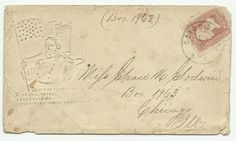 Letter with embossed Civil War image mailed from Grand Rapids - 1860s