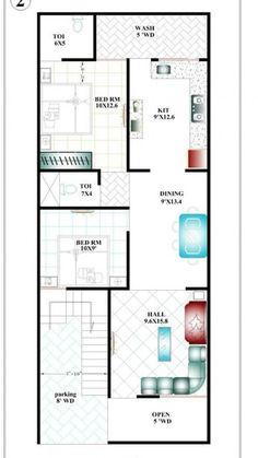 20*50 2bhk House Plan, Model House Plan, House Layout Plans, Duplex House Plans, Bedroom House Plans, House Floor Plans, Home Map Design, Home Design Floor Plans, Narrow House Designs