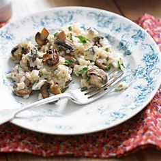 Blue cheese and mushroom risotto - I leave out the double cream cos it's creamy enough for me just with the blue cheese.....