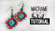 Aros cuadrados » 🌈 tutorial | como hacer | diy ● Earrings #142 Macrame Earrings Tutorial, Earring Tutorial, Diy Earrings, Crochet Earrings, Macrame Knots, Macrame Jewelry, Macrame Bracelets, Micro Macramé, Diy Jewelry Unique