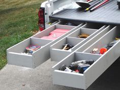 Going to incorporate this with my van for traveling. Truck Bed Storage System This custom-made system hides enough tool storage for a full workshop. Trick out your truck with these step-by-step instructions. Truck Bed Storage, Tool Storage, Storage Spaces, Storage Ideas, Trailer Storage, Organization Ideas, Storage Systems, Kitchen Organization, Kitchen Storage