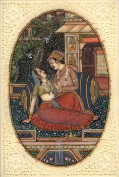 Mogul Empire Indian Miniature Painting Handmade Watercolor Mughal Harem Folk Art