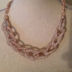 HOST PICK Rose Gold Chainlink Necklace Rose gold Chainlink necklace with Swarovski crystals. I bought this necklace from Jewelry Television and never wore it once. It is in perfect condition. Crystals are hard to see in the pic, but they are in the chains. Jewelry Necklaces