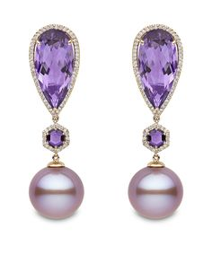 New to the Couture Show Las Vegas for 2014 is Yoko London with its rose gold earrings featuring pink freshwater pearls, amethysts and diamonds.