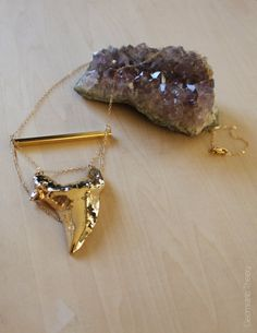 24k Gold Plated Shark Tooth Necklace Medium by GeometricTheory, $99.00