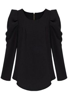 Black Long Sleeve Alice Shoulder Zipper Blouse pictures (wear with structured pencil skirt...think cc's marykatz blacknwhite outfit)