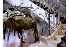 R.A.W. Hand Sculpted Wood Deer + @ Le Royal Monceau Hotel France    'Mr & Mrs Smith - Stairwell'