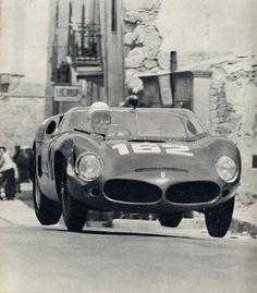 Targa Florio 1961. Olivier Gendebien flying a Ferrari 246SP.