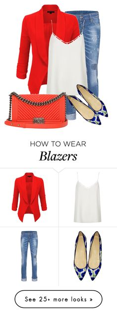 """red blazer"" by jana-zed on Polyvore featuring Dsquared2, LE3NO, River Island, J.Crew, Chanel, jcrew and dsquared"