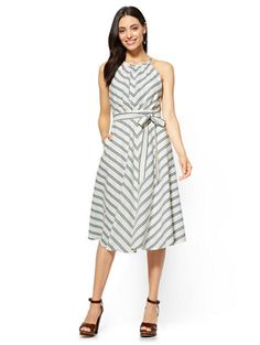 Shop 7th Avenue Halter Fit & Flare Dress - Stripe. Find your perfect size online at the best price at New York & Company.