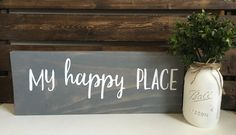 Wood Sign, Happy Place Sign, Rustic Signs, Rustic Wood Sign, Entryway Sign…