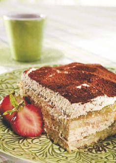 Raparperitiramisu No Bake Treats, Tiramisu, Good Food, Baking, Ethnic Recipes, Sweet, Candy, Bakken, Tiramisu Cake