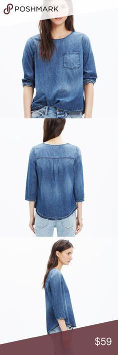 Madewell Denim Drop-Hem Top A tee-style denim top with a perfectly worn-in look. Fun fact: The shirt is sewn and stonewashed before a member of our jeans team lets down the hem by hand, creating a cool raw-edged finish. True to size. Cotton. Dry clean.   Overall great shape, worn a few times. The denim is soft and comfortable! The color is bluer like model pics, my pics are too dark. I need to photograph during the day, it's currently dark outside in Michigan at 5pm now! 🌙 Madewell Tops